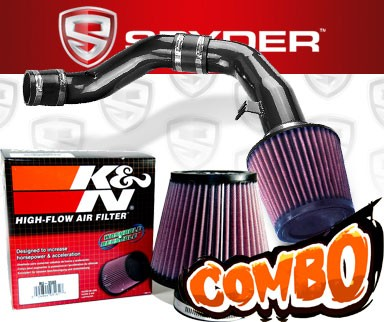 K&N® Air Filter + Spyder® Cold Air Intake System (Black) - 03-08 Hyundai Tiburon 2.7L V6