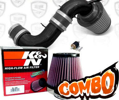 K&N® Air Filter + Spyder® Cold Air Intake System (Black) - 04-05 Ford Focus Duratec 2.0L 4cyl