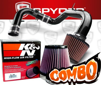 K&N® Air Filter + Spyder® Cold Air Intake System (Black) - 04-06 Mitsubishi Lancer Ralli Art 2.4L 4cyl (MT)