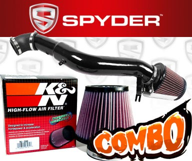 K&N® Air Filter + Spyder® Cold Air Intake System (Black) - 06-10 Jeep Commander 3.7L V6