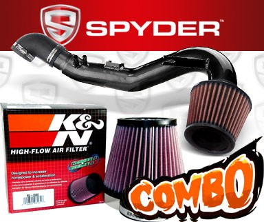 K&N® Air Filter + Spyder® Cold Air Intake System (Black) - 06-11 Honda Civic Si 2.0L 4cyl