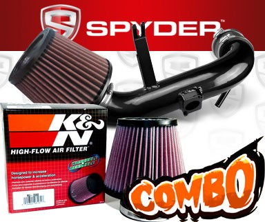 K&N® Air Filter + Spyder® Cold Air Intake System (Black) - 09-15 Mitsubishi Lancer 2.4L  4cyl Non-Turbo (AUTOMATIC TRANSMISSION ONLY)
