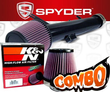 K&N® Air Filter + Spyder® Cold Air Intake System (Black) - 11-14 Ford Mustang 3.7L V6