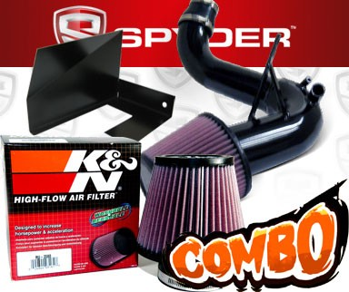 K&N® Air Filter + Spyder® Cold Air Intake System (Black) - 11-14 Kia Optima Turbo 2.0L 4cyl