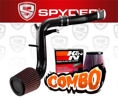 K&N® Air Filter + Spyder® Cold Air Intake System (Black) - 13-16 Hyundai Veloster Turbo 1.6L 4cyl