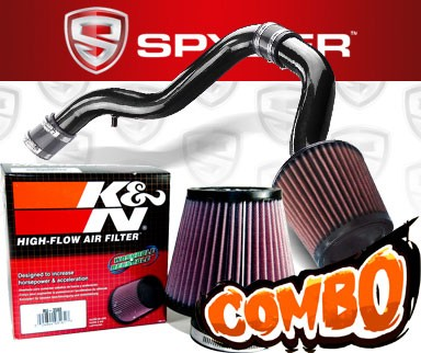 K&N® Air Filter + Spyder® Cold Air Intake System (Black) - 88-91 Honda Civic 1.6L 4cyl