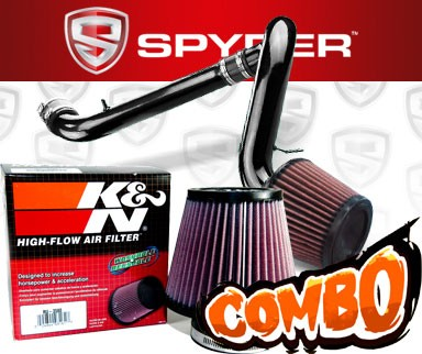 K&N® Air Filter + Spyder® Cold Air Intake System (Black) - 91-99 Saturn S-Series DOHC 1.9L 4cyl