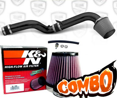 K&N® Air Filter + Spyder® Cold Air Intake System (Black) - 92-96 Honda Prelude 2.2L/2.3L 4cyl