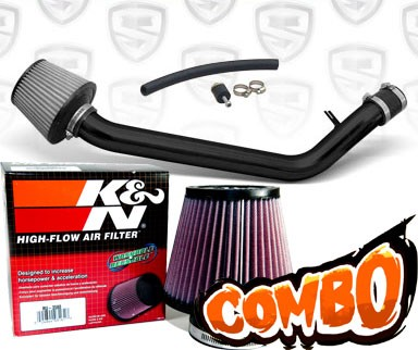 K&N® Air Filter + Spyder® Cold Air Intake System (Black) - 93-97 Honda Del Sol SOHC 1.5L/1.6L 4cyl