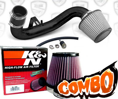 K&N® Air Filter + Spyder® Cold Air Intake System (Black) - 95-99 Dodge Neon DOHC 2.0L 4cyl
