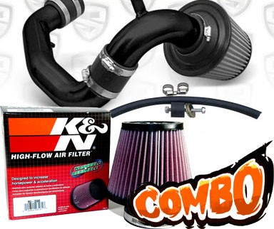 K&N® Air Filter + Spyder® Cold Air Intake System (Black) - 95-99 Dodge Neon SOHC 2.0L 4cyl