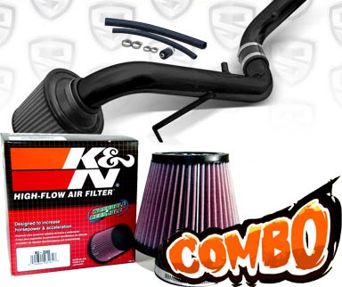 K&N® Air Filter + Spyder® Cold Air Intake System (Black) - 95-99 Mitsubishi Eclipse Non-Turbo 2.0L 4cyl