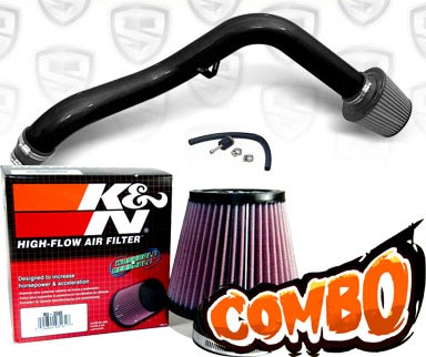 K&N® Air Filter + Spyder® Cold Air Intake System (Black) - 97-01 Honda Prelude 2.2L  4cyl