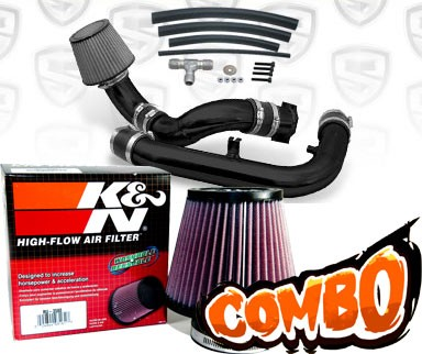 K&N® Air Filter + Spyder® Cold Air Intake System (Black) - 97-98 Nissan 240SX 2.4L 4cyl