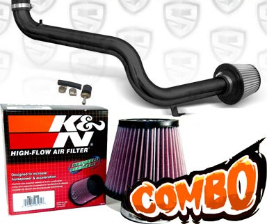 K&N® Air Filter + Spyder® Cold Air Intake System (Black) - 98-02 Honda Accord 2.3L 4cyl