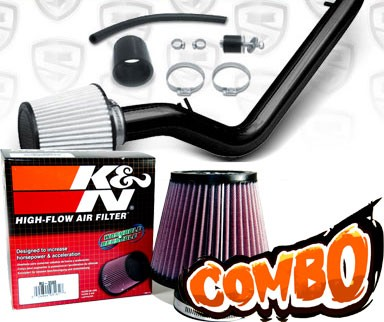 K&N® Air Filter + Spyder® Cold Air Intake System (Black) - 99-00 Honda Civic EX 1.6L 4cyl