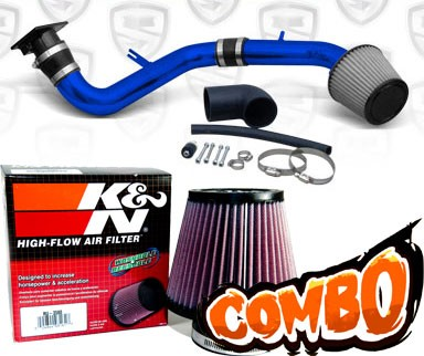 K&N® Air Filter + Spyder® Cold Air Intake System (Blue) - 00-05 Mitsubishi Eclipse RS/GS 2.4L 4cyl