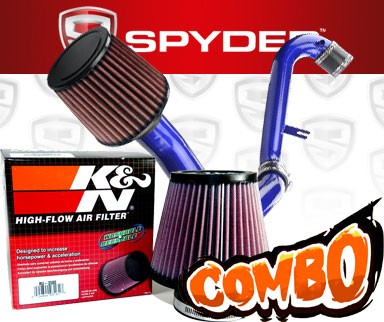 K&N® Air Filter + Spyder® Cold Air Intake System (Blue) - 01-05 Honda Civic EX 1.7L 4cyl (MT)