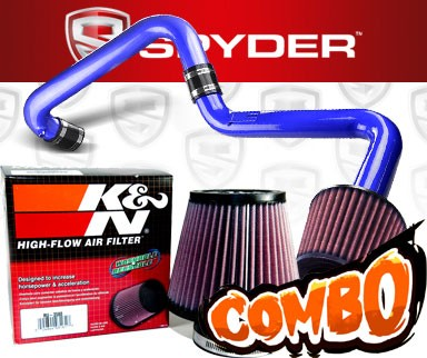 K&N® Air Filter + Spyder® Cold Air Intake System (Blue) - 01-05 Honda Civic EX/DX/LX 1.7L 4cyl (AT)
