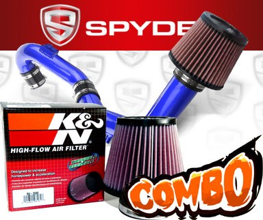 K&N® Air Filter + Spyder® Cold Air Intake System (Blue) - 02-04 Ford Focus SVT 2.0L 4cyl