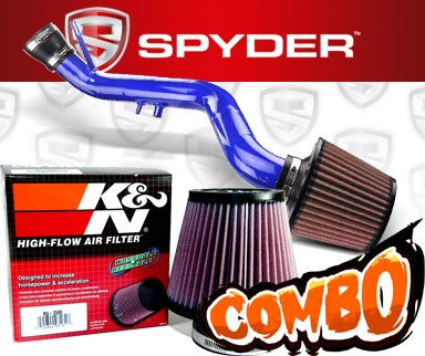 K&N® Air Filter + Spyder® Cold Air Intake System (Blue) - 02-05 Honda Civic SI DOHC 2.0L 4cyl