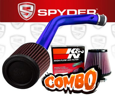 K&N® Air Filter + Spyder® Cold Air Intake System (Blue) - 03-06 Honda Accord 3.0L 3.0L V6