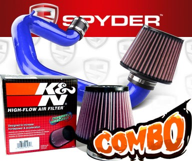 K&N® Air Filter + Spyder® Cold Air Intake System (Blue) - 03-06 Toyota Matrix XR 1.8L 4cyl