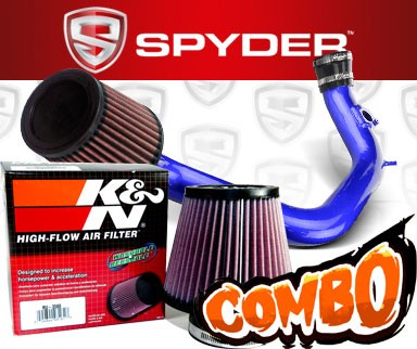 K&N® Air Filter + Spyder® Cold Air Intake System (Blue) - 03-06 Toyota Matrix XRS 1.8L 4cyl