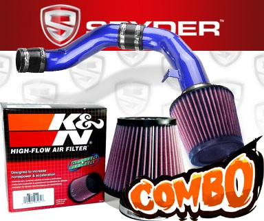 K&N® Air Filter + Spyder® Cold Air Intake System (Blue) - 03-08 Hyundai Tiburon 2.7L V6