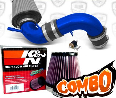 K&N® Air Filter + Spyder® Cold Air Intake System (Blue) - 04-05 Ford Focus Duratec 2.0L 4cyl