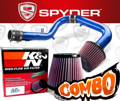 K&N® Air Filter + Spyder® Cold Air Intake System (Blue) - 05-06 Scion tC 2.4L 4cyl