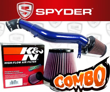K&N® Air Filter + Spyder® Cold Air Intake System (Blue) - 05-10 Jeep Grand Cherokee 3.7L V6