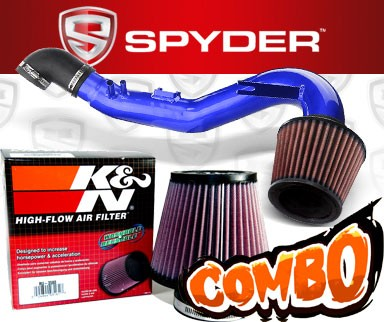 K&N® Air Filter + Spyder® Cold Air Intake System (Blue) - 06-11 Honda Civic Si 2.0L 4cyl