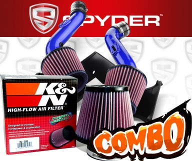 K&N® Air Filter + Spyder® Cold Air Intake System (Blue) - 07-09 Nissan 350Z V6 3.5L