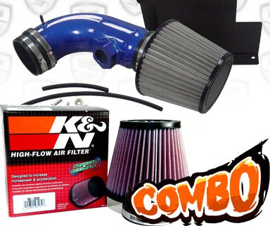 K&N® Air Filter + Spyder® Cold Air Intake System (Blue) - 07-12 BMW 328i E90/E92/E93 3.0L 6cyl