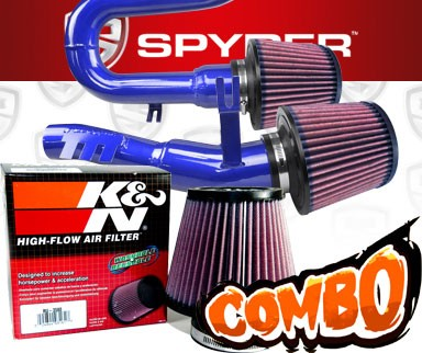 K&N® Air Filter + Spyder® Cold Air Intake System (Blue) - 08-10 BMW 135i 3.0L L6 E82/E88