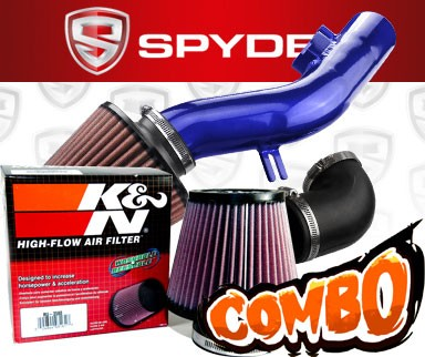 K&N® Air Filter + Spyder® Cold Air Intake System (Blue) - 08-12 Chevy Malibu 2.4L 4cyl (Without Air Pump)