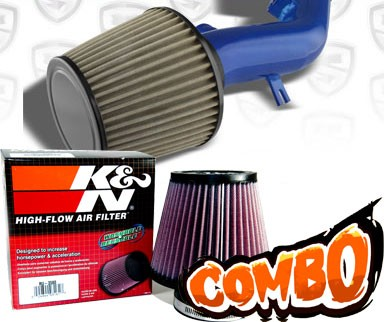 K&N® Air Filter + Spyder® Cold Air Intake System (Blue) - 08-12 Chevy Malibu 2.4L 4cyl (with Air Pump)