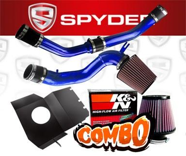 K&N® Air Filter + Spyder® Cold Air Intake System (Blue) - 08-15 Mitsubishi Lancer Turbo Evolution X Evo 10 (With Upper Intercooler Pipping)
