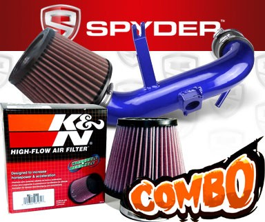 K&N® Air Filter + Spyder® Cold Air Intake System (Blue) - 09-15 Mitsubishi Lancer 2.4L 4cyl Non-Turbo (AUTOMATIC TRANSMISSION ONLY)