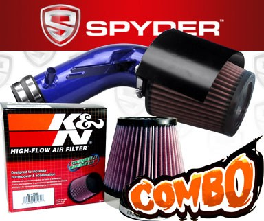 K&N® Air Filter + Spyder® Cold Air Intake System (Blue) - 09-16 Nissan Maxima 3.5L V6
