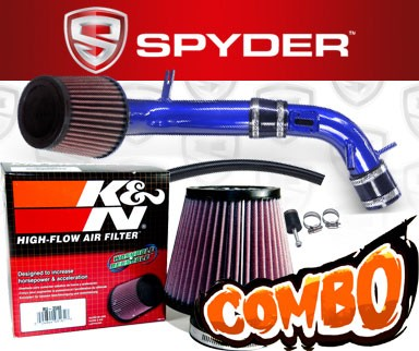 K&N® Air Filter + Spyder® Cold Air Intake System (Blue) - 10-12 Ford Fusion 2.5L 4cyl