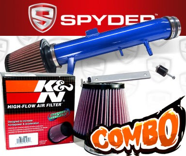 K&N® Air Filter + Spyder® Cold Air Intake System (Blue) - 11-14 Ford Mustang 3.7L V6