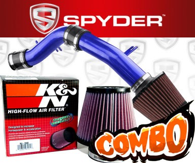 K&N® Air Filter + Spyder® Cold Air Intake System (Blue) - 12-13 Hyundai Veloster 1.6L 4cyl Non-Turbo