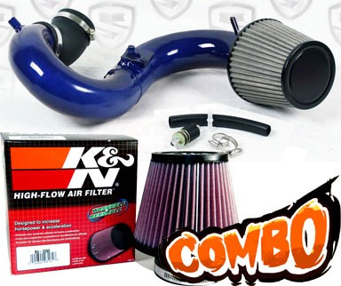 K&N® Air Filter + Spyder® Cold Air Intake System (Blue) - 12-14 Honda Civic Si 2.4L 4cyl