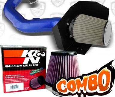 K&N® Air Filter + Spyder® Cold Air Intake System (Blue) - 2005 Ford Expedition 5.4L V8