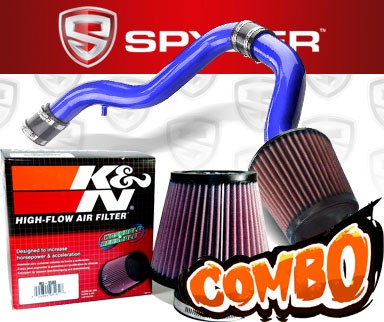 K&N® Air Filter + Spyder® Cold Air Intake System (Blue) - 88-91 Honda Civic 1.6L 4cyl
