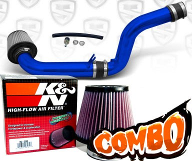 K&N® Air Filter + Spyder® Cold Air Intake System (Blue) - 92-96 Honda Prelude 2.2L/2.3L 4cyl