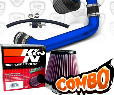 K&N® Air Filter + Spyder® Cold Air Intake System (Blue) - 95-99 Dodge Neon SOHC 2.0L 4cyl