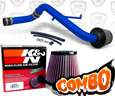 K&N® Air Filter + Spyder® Cold Air Intake System (Blue) - 95-99 Mitsubishi Eclipse Non-Turbo 2.0L 4cyl